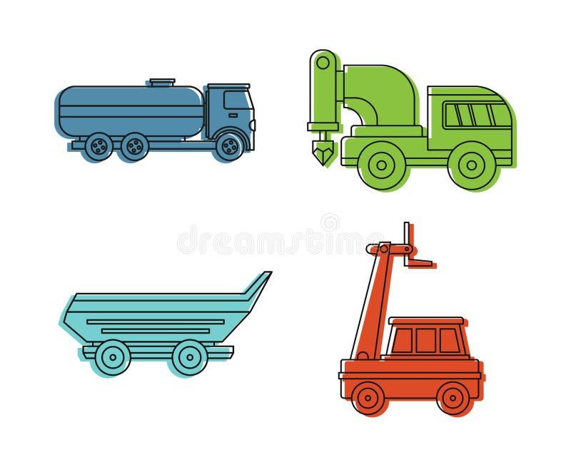 Spezieller Fahrzeugikonensatz, Farbentwurfsart stock abbildung