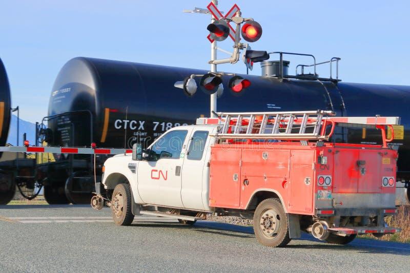 Spezieller kanadischer nationaler Schienen-LKW lizenzfreie stockbilder