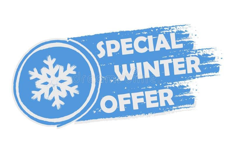 Spezielles Winterangebot mit Schneeflockenzeichen, gezeichnete Fahne vektor abbildung
