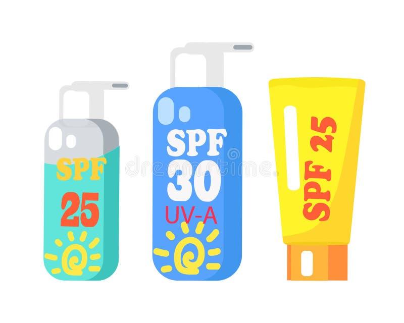 SPF提取乳脂在白色的三隔绝的收藏 向量例证