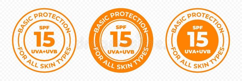 SPF 15太阳保护乌瓦和UVB传染媒介象 SPF 15基本的紫外保护润肤液和奶油包裹标签 库存例证