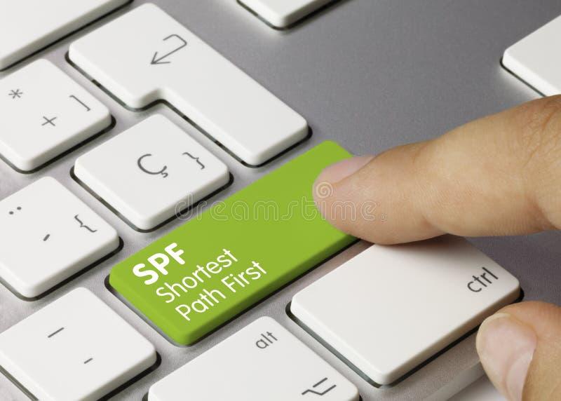 SPF Kortste Weg eerst - Inschrijving op de Groene Sleutel van het Toetsenbord stock afbeelding