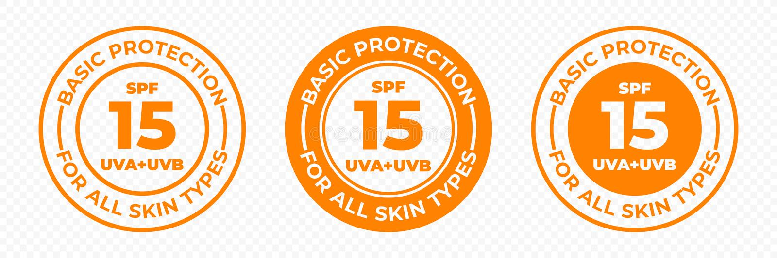 SPF 15 sun protection UVA and UVB vector icons. SPF 15 basic UV protection skin lotion and cream package label. Stamp stock illustration