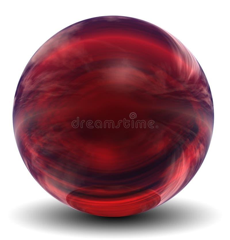 Sphère 3D en verre rouge de haute résolution illustration libre de droits