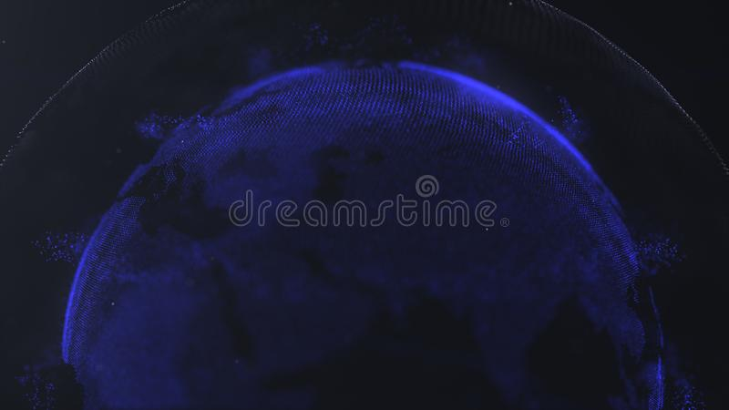 Sphère abstraite Points reliés de bleu marine avec des lignes Interface de mondialisation r Moitié supérieure d'une sphère illustration de vecteur