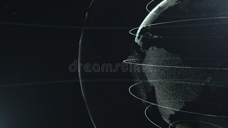 Sphère abstraite r Points blancs reliés avec des lignes Interface de mondialisation La planète est située du côté droit illustration stock