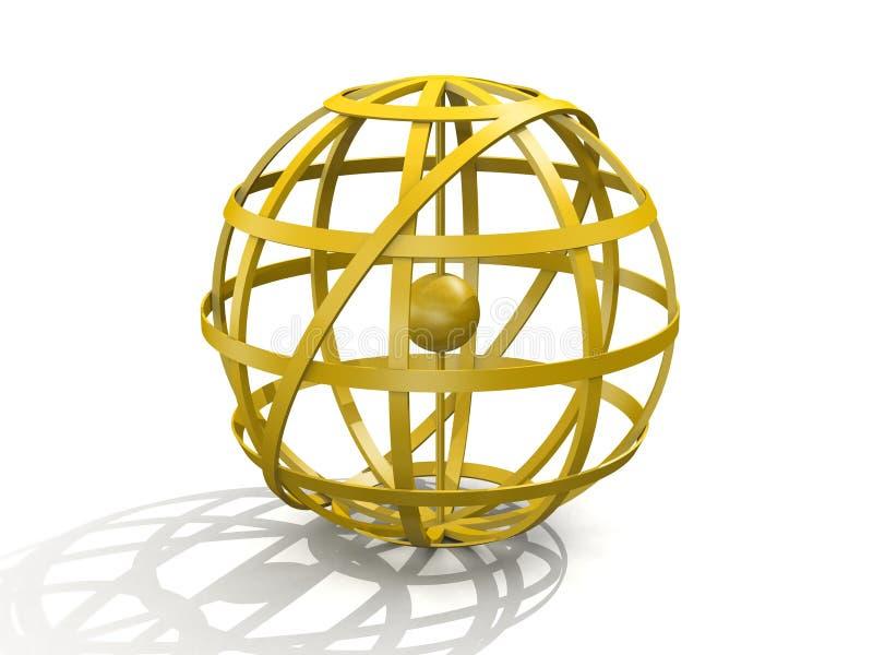 Sphère armillaire d'or illustration libre de droits