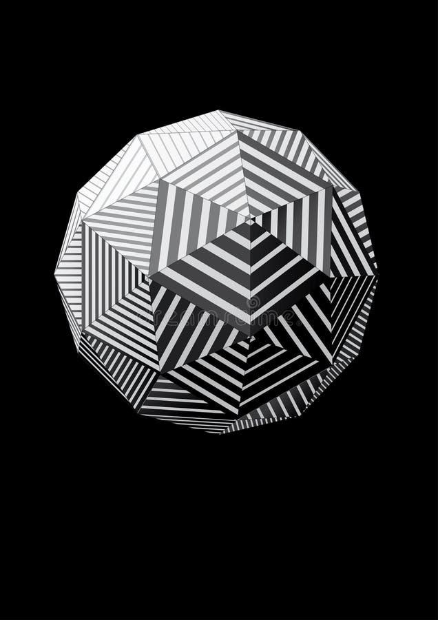Sphère avec les visages rayés triangulaires noirs et blancs pour la conception graphique illustration de vecteur