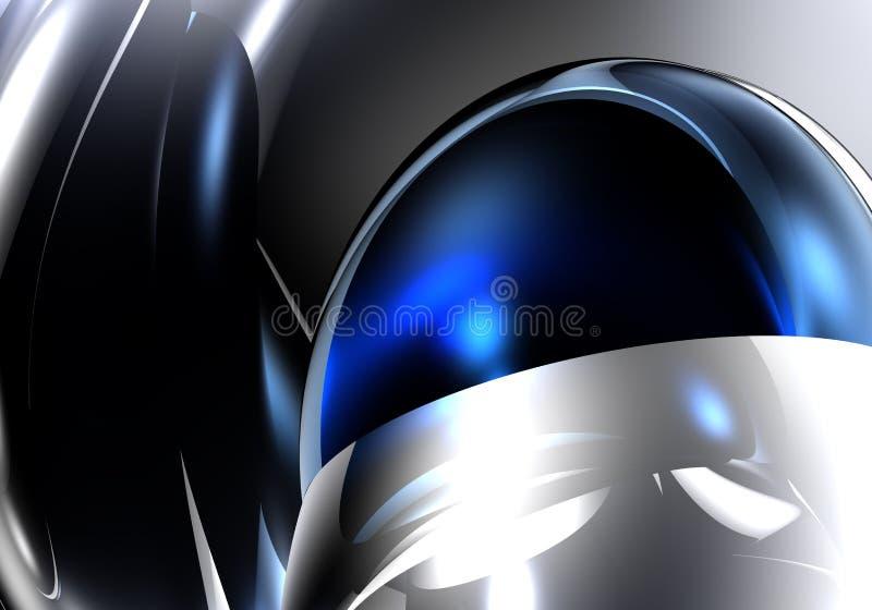 Sphère bleue dans le metall argenté illustration de vecteur