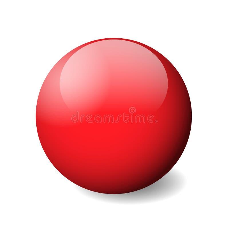 Sphère, boule ou globe brillante rouge objet du vecteur 3D avec l'ombre laissée tomber sur le fond blanc illustration de vecteur