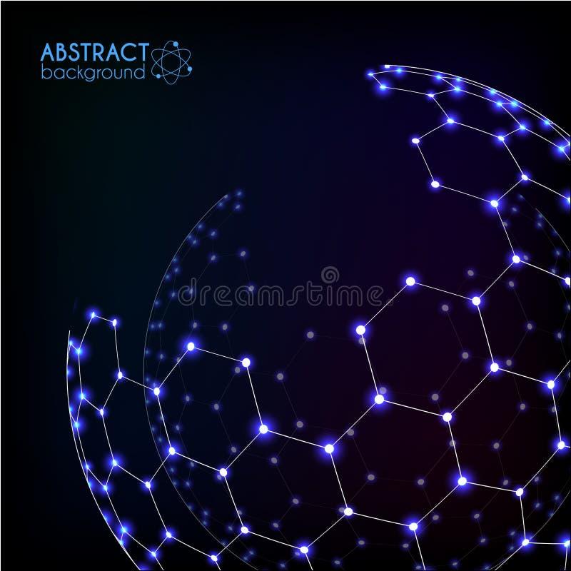Sphère brillante de vecteur hexagonal cosmique brillant bleu de grille illustration de vecteur