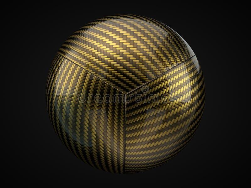 Sphère d'or de fibre de carbone sur le fond noir illustration 3D illustration de vecteur