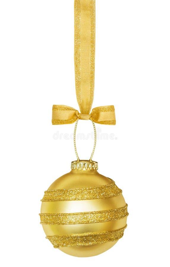 Sphère d'or de Noël avec le ruban photos stock