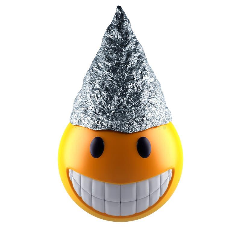 Sphère d'emoji de sourire avec le chapeau de papier d'aluminium illustration libre de droits