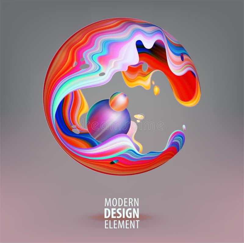 Sphère d'infographie décorée des pétales 3d et des éléments de conception à l'intérieur Logo de vecteur pour votre conception EPS illustration stock
