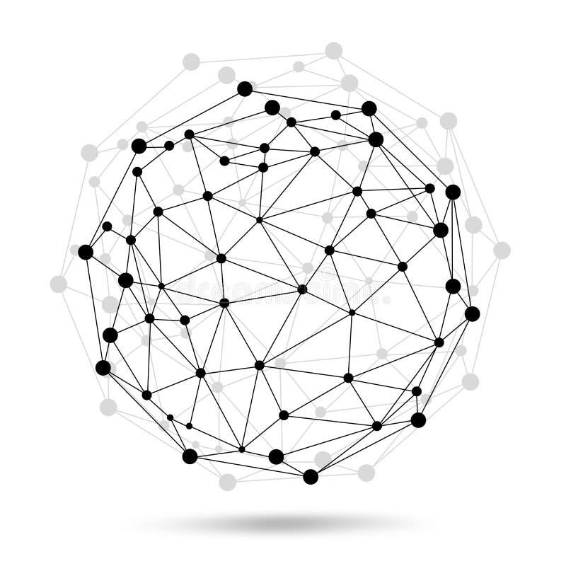 Sphère de cadre de fil. Concept de réseau illustration de vecteur