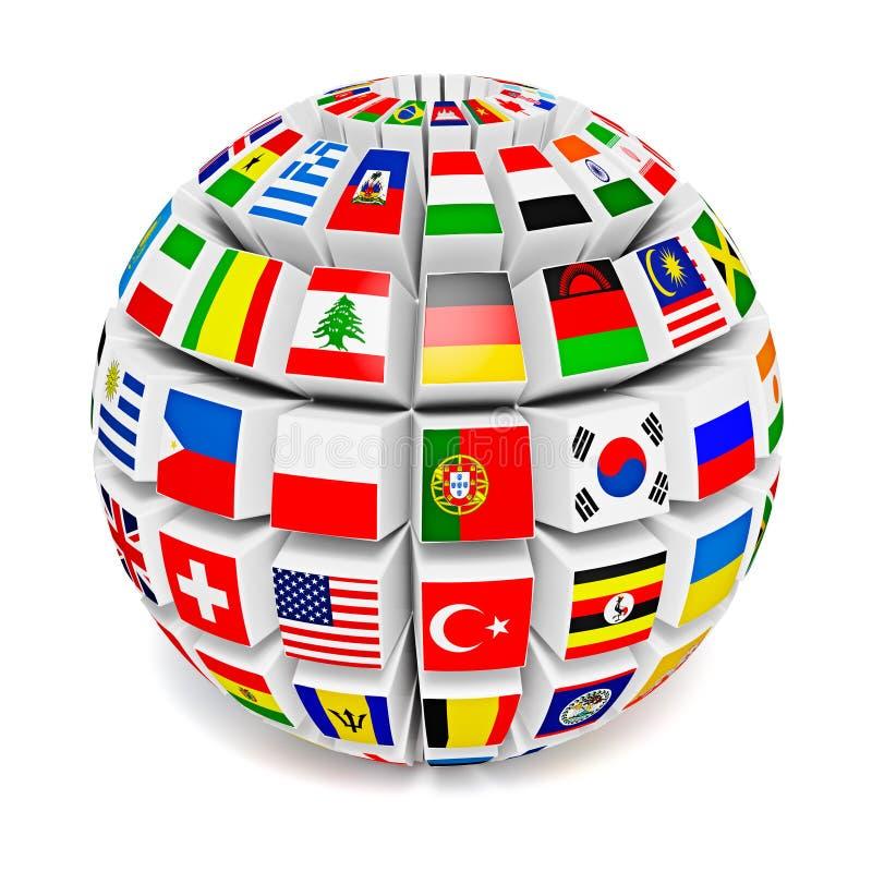 Sphère de globe avec des drapeaux du monde illustration stock