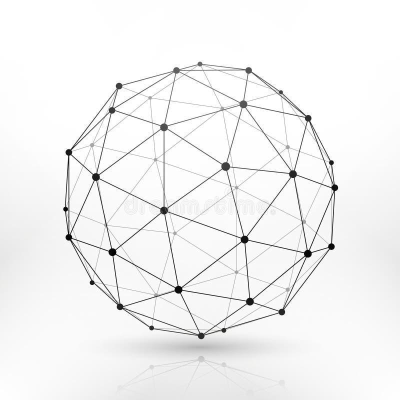 Sphère de globe de Wireframe, connectivité, concept de vecteur de connexion de technologie de réseau illustration stock