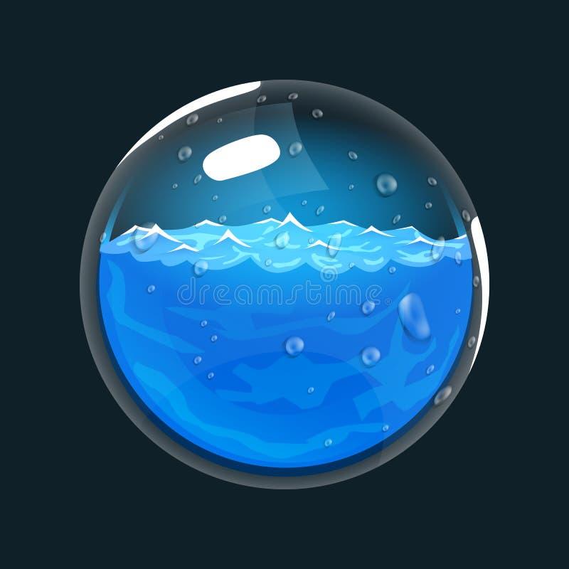 Sphère de l'eau Icône de jeu de globe magique Interface pour le jeu RPG ou match3 L'eau ou mana Grande variante illustration libre de droits