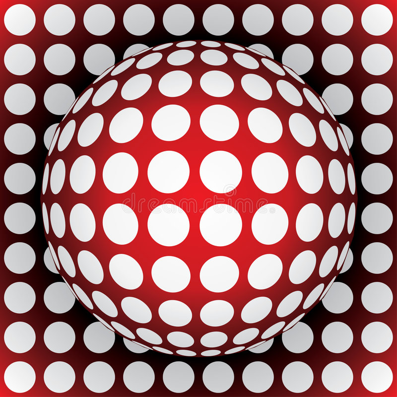 sphère de rouge d'Op-art illustration stock
