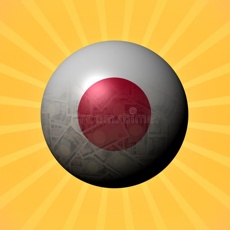 Sphère de Yens de drapeau du Japon sur l'illustration de rayon de soleil illustration libre de droits