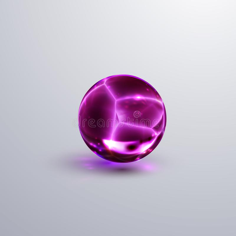 Sphère en cristal criquée brillante illustration libre de droits