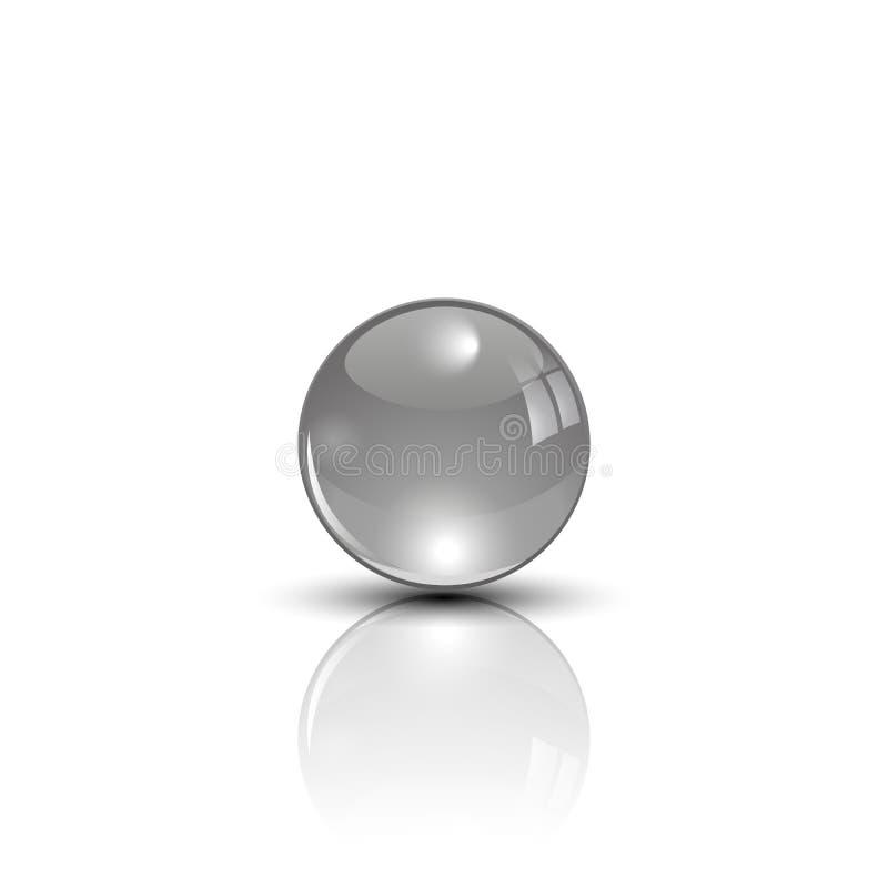 Sphère en métal sur le vecteur de surface de miroir illustration stock