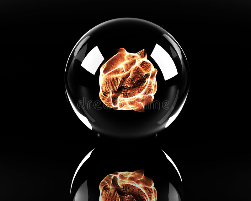 Sphère en verre avec la bille d'incendie illustration stock
