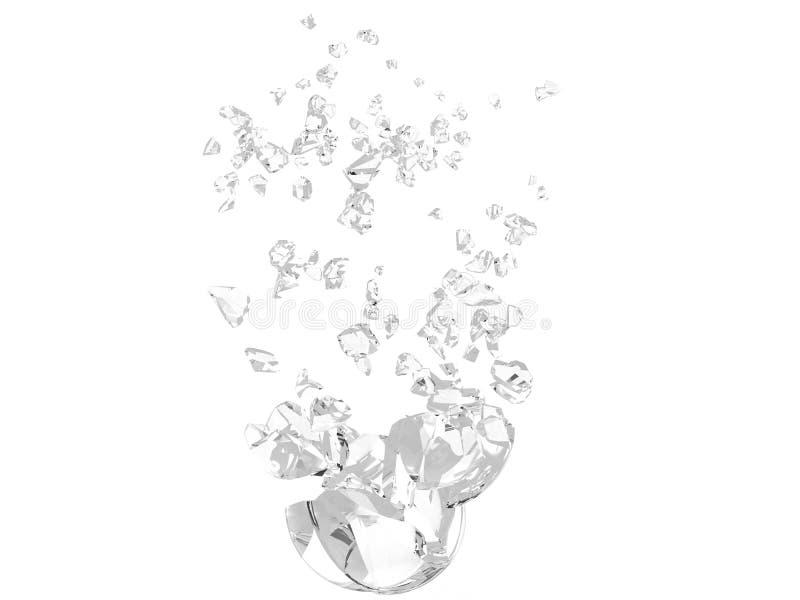 Sphère en verre claire divisée en beaucoup de morceaux illustration libre de droits