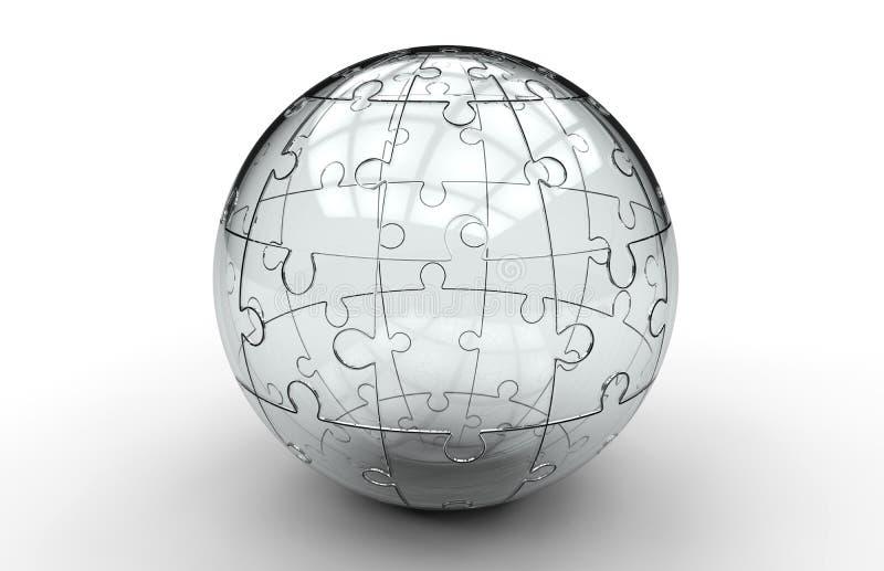 Sphère en verre de puzzle denteux illustration libre de droits