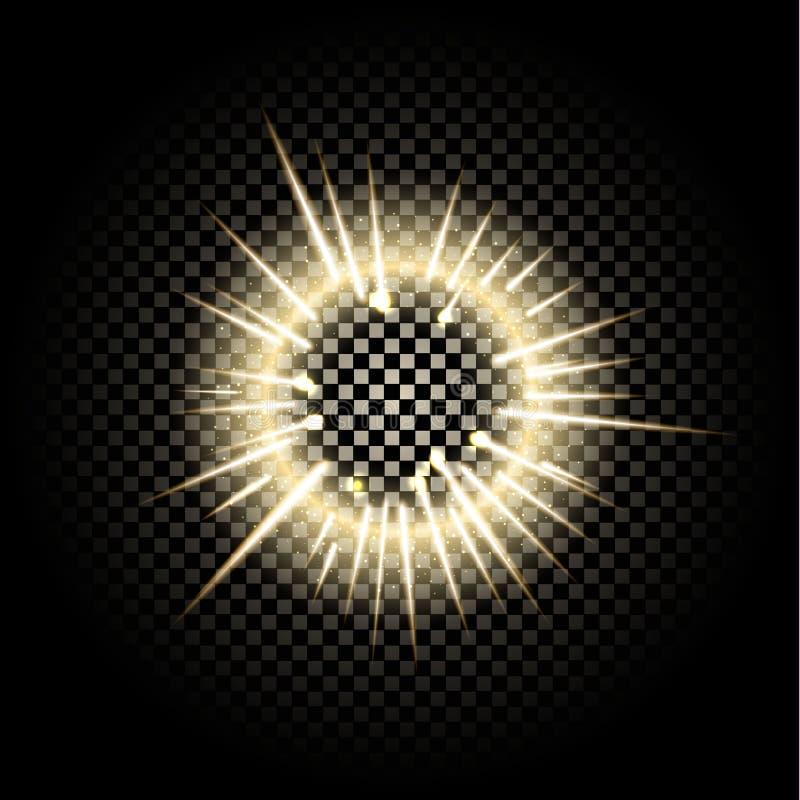 Sphère en verre des effets de la lumière rougeoyants d'isolement sur le fond transparent illustration de vecteur