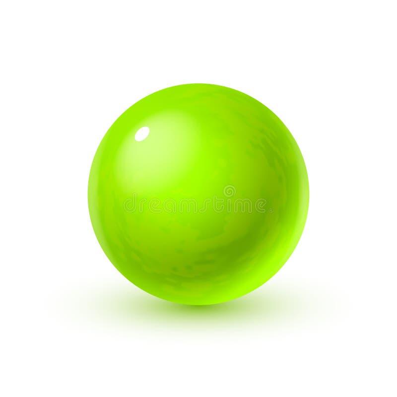 Sphère en verre réaliste avec des ombres, réflexion de ciel dans la surface de miroir de la perle verte illustration stock