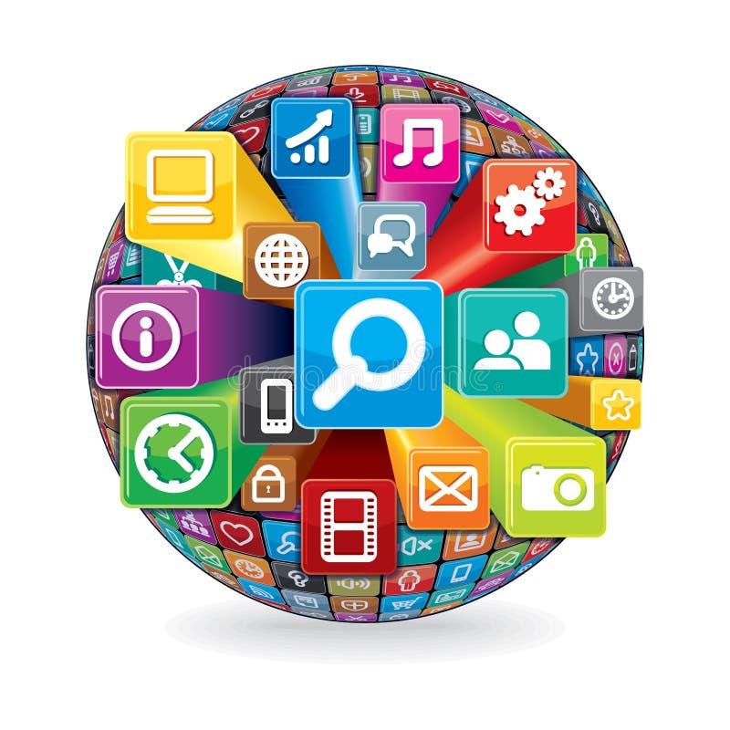 Sphère faite à partir de l'media et icônes sociaux d'ordinateur illustration stock