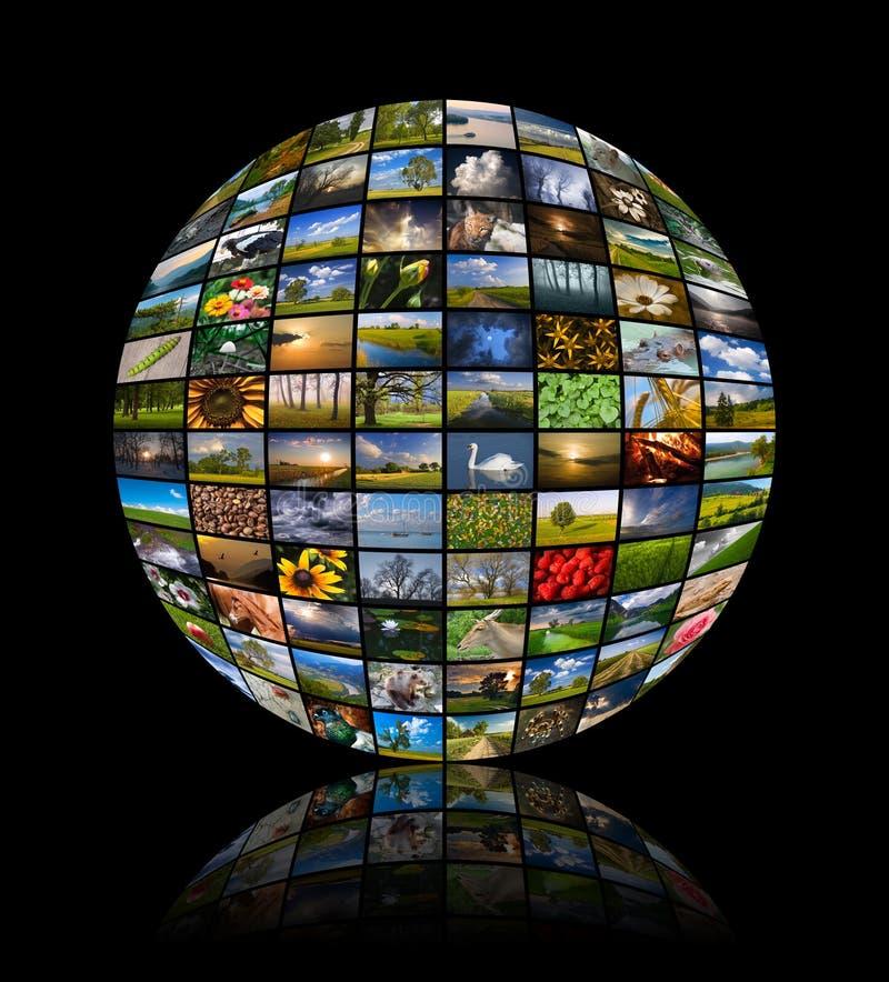 Sphère faite de quatre-vingt-douze photos de nature photo libre de droits
