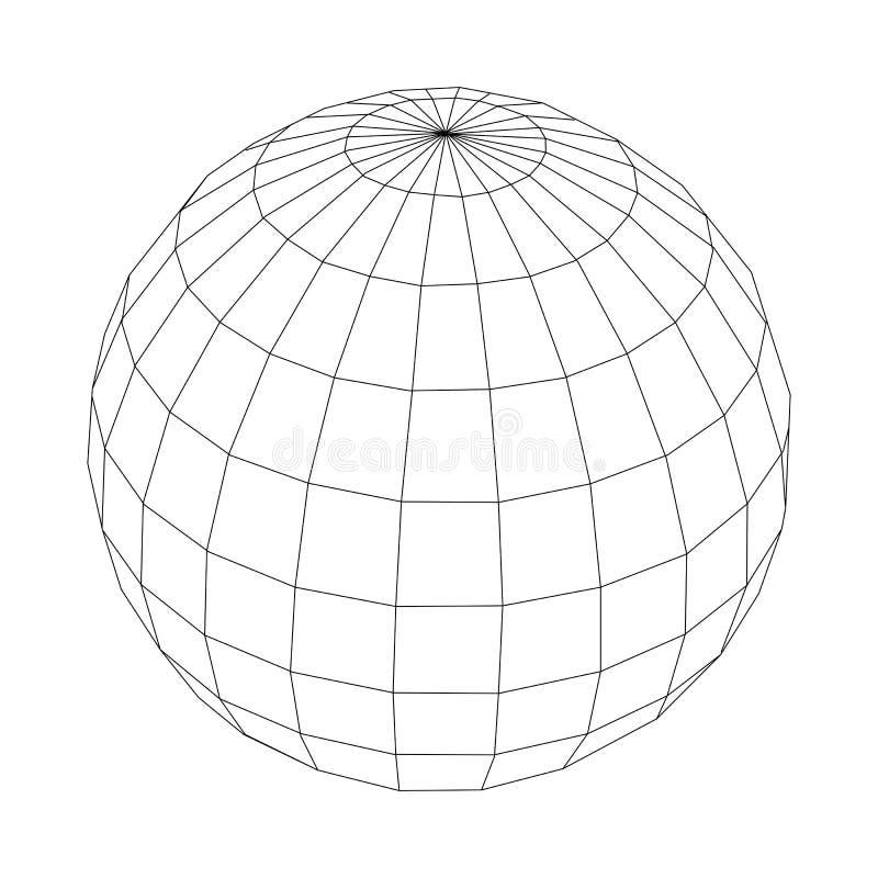 Sphère noire de wireframe de vecteur d'isolement sur le fond blanc illustration libre de droits