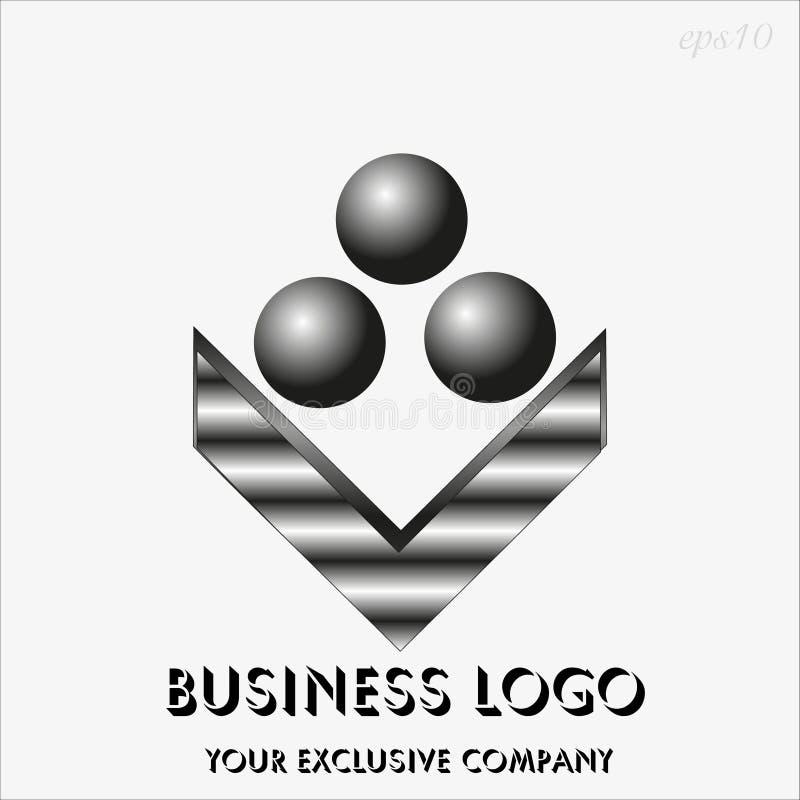 Sphère noire du logo trois illustration stock
