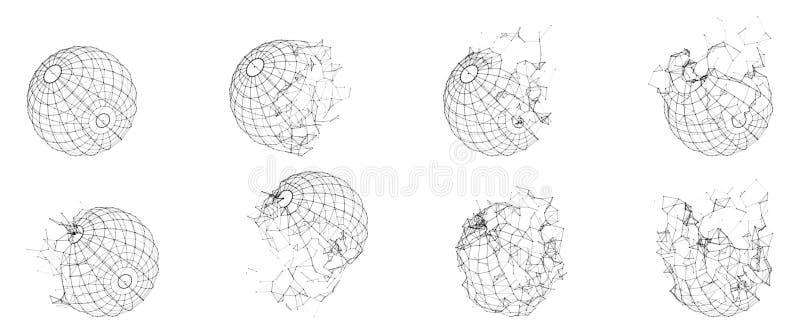 Sphère polygonale cassée de Wireframe Forme géométrique rompue Lignes polygones de réseau de cercle illustration libre de droits