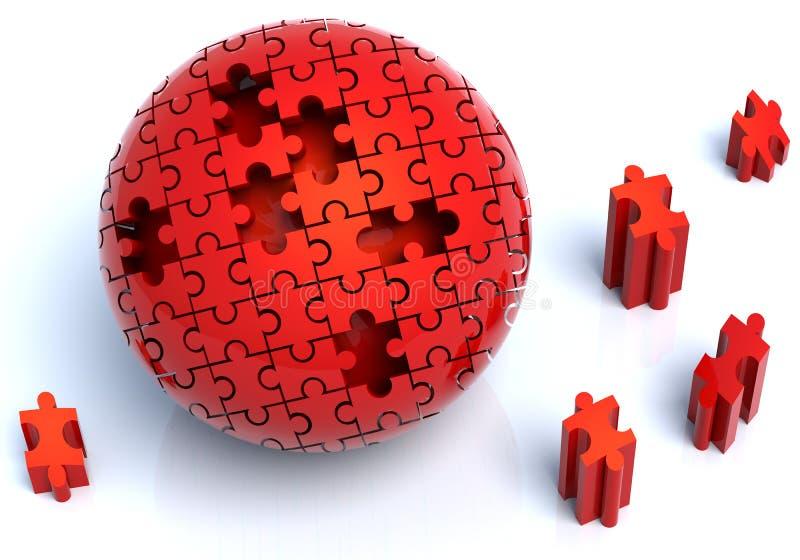 Sphère rouge de puzzle illustration libre de droits