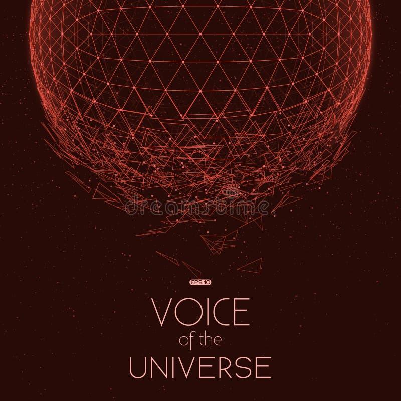 Sphère rouge se brisante de l'espace Fond abstrait de vecteur avec les étoiles minuscules Lueur du soleil du fond illustration de vecteur