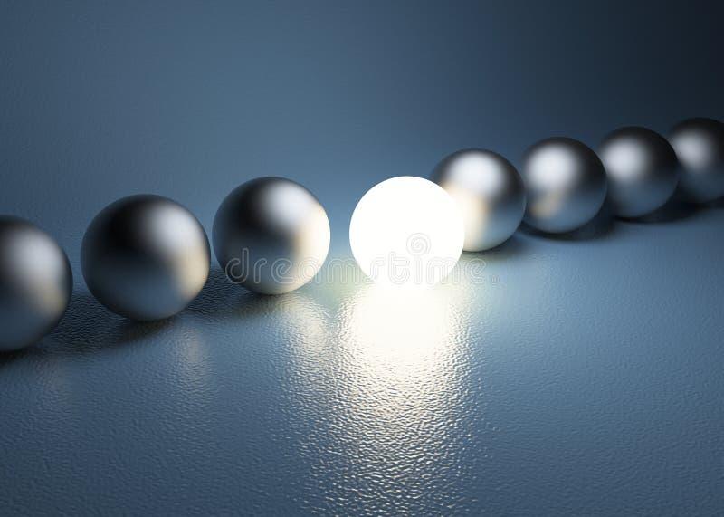 Sphère rougeoyante lumineuse dans une rangée. Concept de direction photos libres de droits