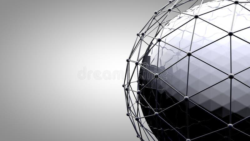Sphère se reliante de Wireframe Lignes de connexion autour de globe de la terre Le concept du réseau social, connexion de globe illustration libre de droits