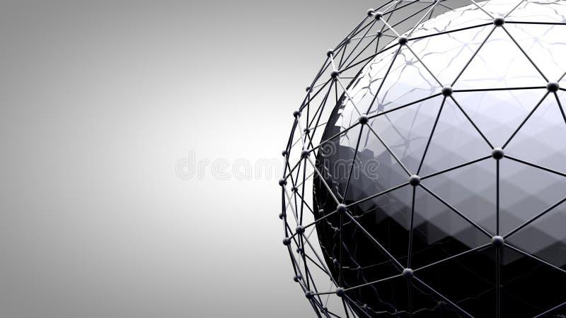 Sphère se reliante de Wireframe Lignes de connexion autour de globe de la terre Le concept du réseau social, connexion de globe illustration stock