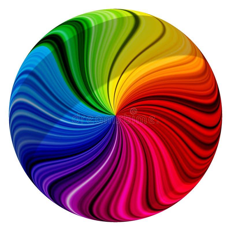 Sphère tordue colorée d'abrégé sur remous illustration stock