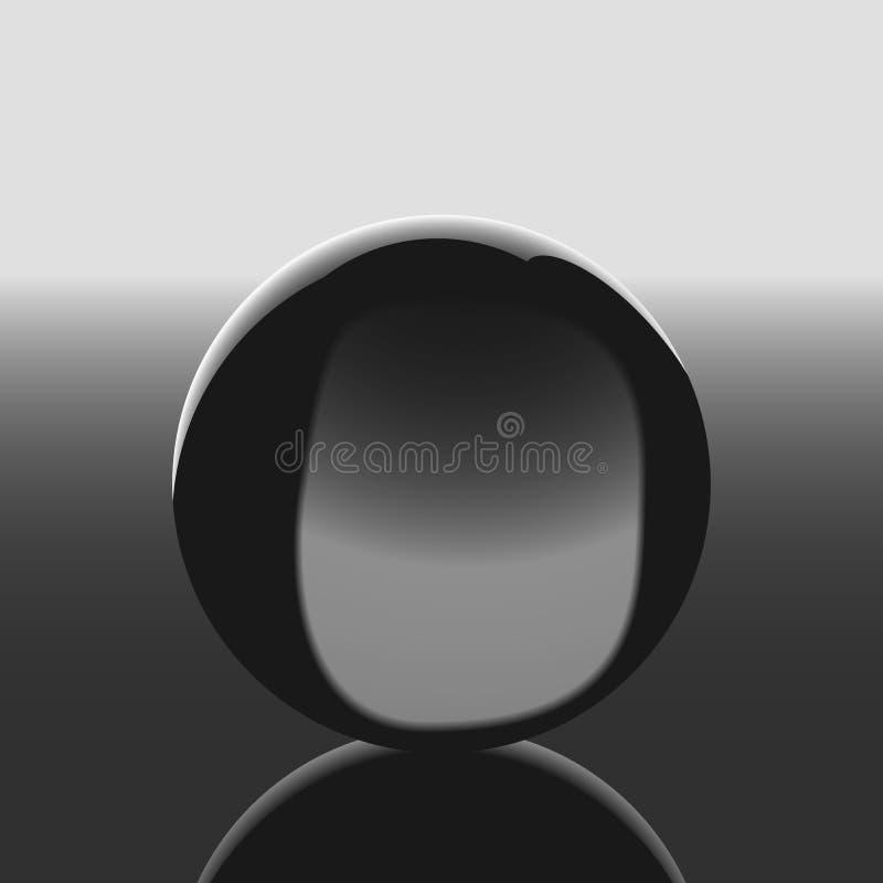 Sphère transparente abstraite sur une surface de miroir illustration libre de droits