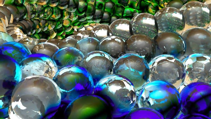 Sphères abstraites de glace tournant dans le mouvement lent rendu 3d illustration de vecteur