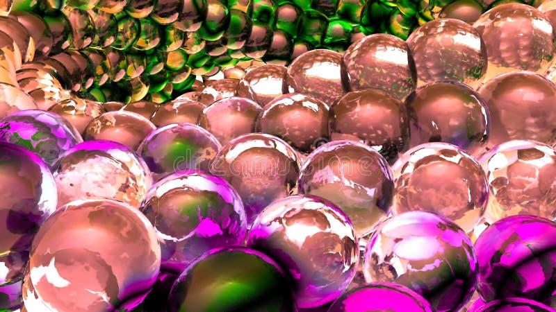 Sphères abstraites de glace tournant dans le mouvement lent rendu 3d illustration libre de droits