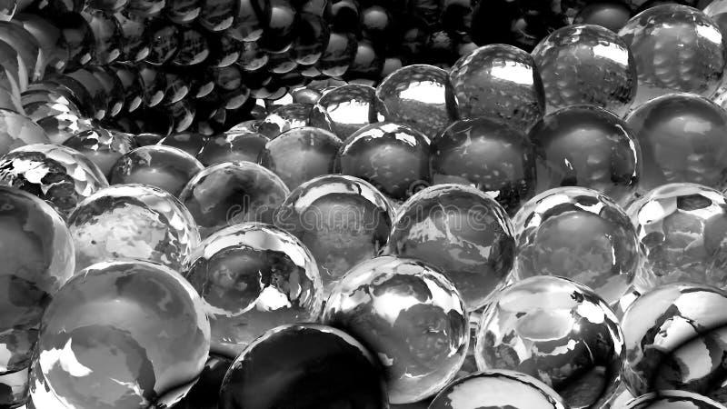 Sphères abstraites de glace tournant dans le mouvement lent rendu 3d illustration stock