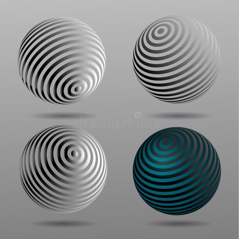 sphères d'image tramée du vecteur 3D Ensemble de milieux tramés de vecteur Éléments tramés de conception illustration de vecteur