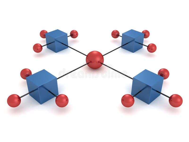 Sphères et cadres colorés dans un diagramme de hiérarchie illustration stock