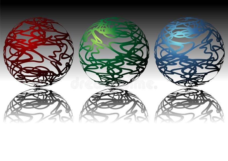 sphères ornementales illustration de vecteur